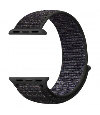 Sport Loop Band Compatible With Apple Watch Band 38MM/40MM Or 42MM/44MM Nylon Soft Breathable Nylon I Watch Replacement Band Sport Loop for Apple Watch Series4/3/2/1 (Sport Dark Black,38MM/40MM)