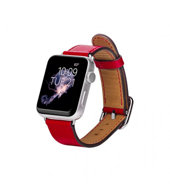 Band for Apple Watch, AURTEC Soft Genuine Leather Strap Replacement Wristband Bracelet for Watch 38mm Series 3 / 2 / 1/, Red