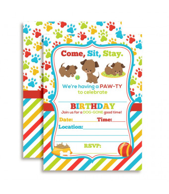 Puppy Dog Paw Ty Birthday Party Invitations 20 5 X7 Fill In Cards With Twenty White Envelopes By Amandacreation For A Gone Good Time