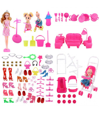 WNOLTEAB Doll Accessories Toy Doll Special Doll House Furniture Kitchenware Shoes Bags Decoration Doll Necklace Mirror Hanger for Barbie Camper Kid Dolls,138 PCS