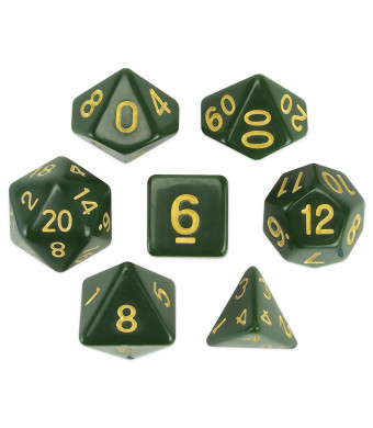 Wiz Dice Blighted Grove Set of 7 Polyhedral Dice, Solid Hunter Green Tabletop RPG Dice with Clear Display Box