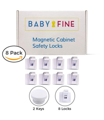 Babyfine Magnetic Cabinet Baby Proofing Locks (8 Pack - White) No Tools or Screws Needed - 3M Adhesive Install in 30 seconds,