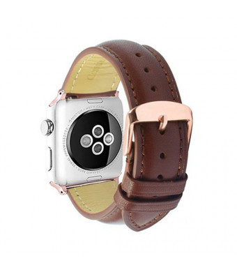 Compatible for Apple Watch Band Leather 42mm Replacement Bracelet Strap Rose Gold Staninless Steel Buckle Adapter for iWatch Series 1and2and3-Dark Brown