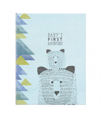 C.R. Gibson Blue Bear and Cub 'Baby's First Adventures' First Five Years Memory Boy Baby Book, 64pgs, 10'' W x 11.75'' H