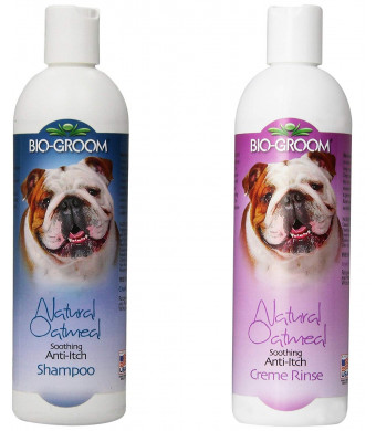 Bio-groom Natural Oatmeal Shampoo 12 Ounces and Natural Oatmeal Soothing Anti-Itch Pet Creme Rinse 12 Ounces - Combo Pack for Dogs and Cats -2 Items Total