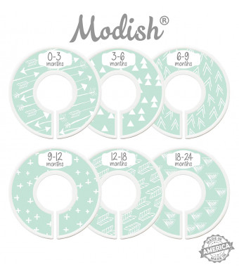 Modish Labels Baby Nursery Closet Dividers, Closet Organizers, Nursery Decor, Gender Neutral, Baby Boy, Baby Girl, Tribal, Arrows, Triangles, Boho Geometric, Nordic, Mint, White (Mint)