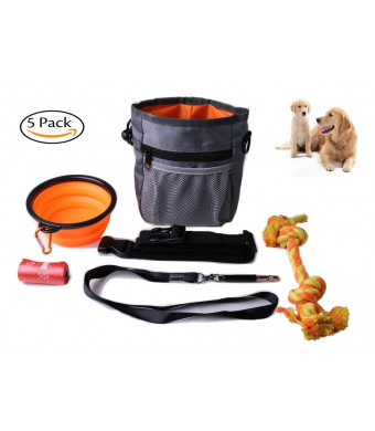 Dog training Pouch Built-in Poop Dispenser Can carry toys and Collapsible Bowl + Free Dog chew rope toy + Roll of Poo Bag Dispenser + Dog whistle -Perfect Dog training kit 5 PACK