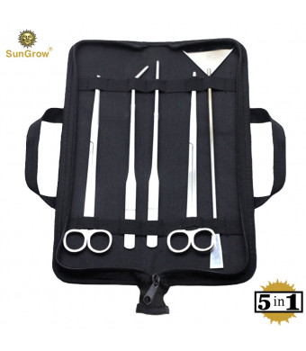 SunGrow Aquarium Tool Kit (5pcs) by Perfect Aquascaping Tools - Includes Straight and Curved Scissors, Substrate Spatula, Straight and Bent Tweezers - Stainless Steel - No Rust - Convenient Operation