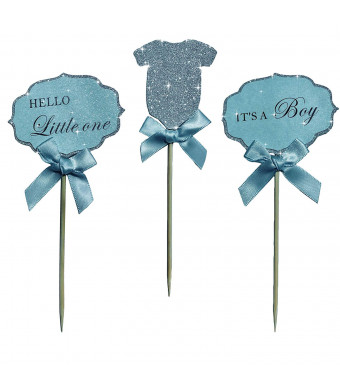 """Baby Boy Cupcake Toppers""""Its A Boy"""" and""""Hello Little One"""" and Silver Glitter BodySuit With Elegant blue Bow. A Special Baby Shower Party Decoration. (36)"""