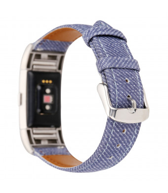 Watch Bands for Fitbit Charge 2, Cowboy Pattern Genuine Leather Replacement Bands with Metal Connectors, Fitness Strap for Fitbit Charge 2 (Denim Blue)