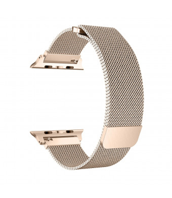 Cocos Compatible with Apple Watch Band Mesh Milanese Loop Stainless Steel Compatible with iWatch Band Compatible with Apple Watch Series 4 (40mm) Series 3 2 1 (38mm) Gold