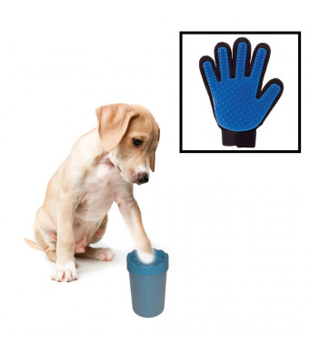 Paw Cleaner for Dogs and Pet Grooming Glove Bundle- Package Includes Portable Pet Paw Washing Cup and Hair Remover Massage Mitt - Silicone Brushing Cup for Dirty Paws and De-Shedding Glove (Small)