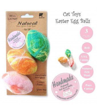 BALLMIE Cat Toys Ball Catnip Eggs, Handmade Felt Wool Toys Fleece Toys Ball, Bell, Catnip
