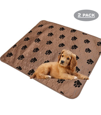 "Pack of 2 - Large Washable Puppy Pee Potty Pads - Reusable Travel Dog Mat (31.5"" x 35.5"")"