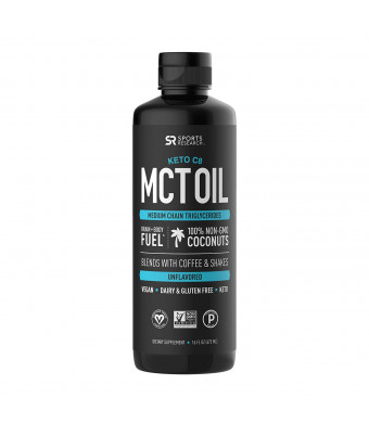 Keto MCT Oil containing only c8 Caprylic Acid ~ Made from Non-GMO Coconuts ~ Fuel for The Body and Mind ~ Keto and Paleo Diet Friendly, Gluten and Dairy Free (16oz Leak Proof Squeeze Bottle)