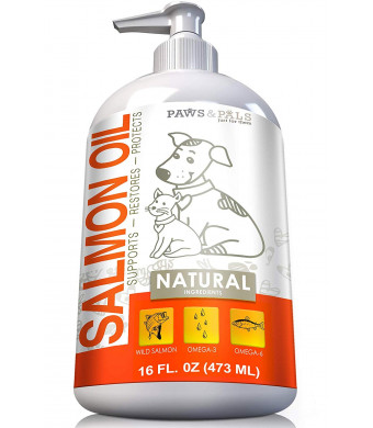 Paws and Pals Wild Alaskan Salmon Fish Oil Omega 3 and 6 for Dogs and Cats - Anti Itch Skin and Coat + Allergy Support - Hip and Joint + Natural Arthritis Dog Supplement  in Liquid or Chew Bite Treats