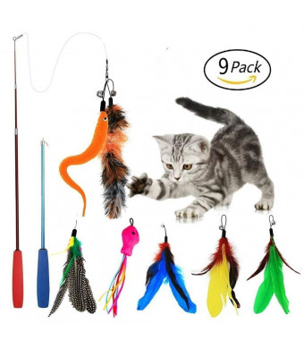 EatronChoi Cat Feather Toy, Cat Toy Wand, 9 pcs Retractable Interactive Cat Teaser Wand Toy Set, Included 2 Wands and 7 Refills Feathers