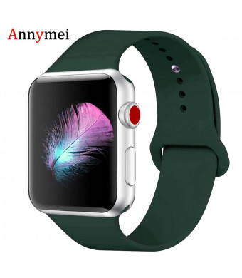 for Apple Watch Band, Annymei Durable Soft Silicone Replacement iWatch Band Sport for Apple Watch Band Series 4 Series 3 Series 2 Series 1 Sport, Edition (Olive Green, 42MM M/L=44MM M/L)
