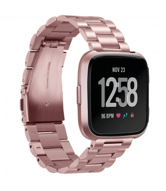 Aresh Compatible Fitbit Versa Bands Solid Stainless Steel Versa Band Strap Replacement Metal Wristbands Compatible Fitbit Versa Smartwatch (Rose Gold)
