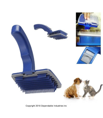 DINY Home and Style Self Cleaning Slicker Pet Brush Stimulates Skin and Hair Follicles