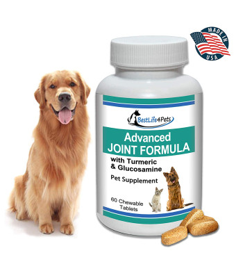 BestLife4Pets Glucosamine and Turmeric Joint Pain Relief Supplement for Dogs; Advanced Arthritis Pain Relief Increases Mobility, Eases Joint and Hip Pain, and Reduces Inflammation