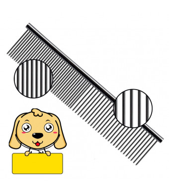 HaloVa Pet Comb, Stainless Steel Pet Grooming Brush, Household Pet Dematting Combs with Different-spaced Teeth for Various Large-sized Dog Long Short Straight Curly Hair, Large