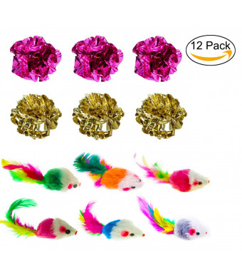 Malier Interactive Cat Toys 6 Pack Mylar Crinkle Balls Cat Toys 6 Pack Furry Mice Cat Toys Feather Tails, Pack of 12