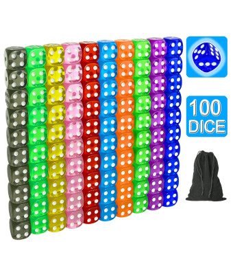 SUNMON 100 Pcs Multi-Color Dice Set  10 Assorted Transparent Color with 10 Pcs Each, 16mm D6 Standard Dice with Extra Carrying Bag, Perfect for Board and Dice Games and Other Casino Games