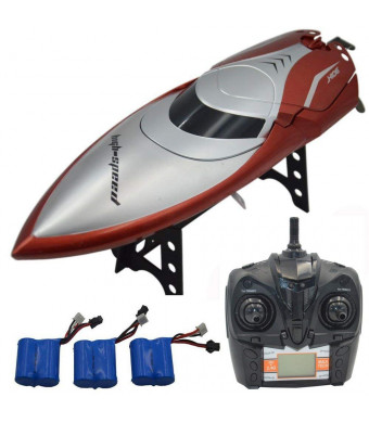 Blomiky H106 2.4GHz Racing RC Boat for River Lake or Pool-High Speed Remote Control Boat for Adults and Kids Bonus 2 Battery H106