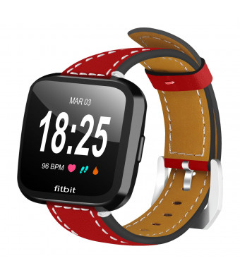 FitTurn For Fitbit Versa Bands Women Men, Replacement And Colorful Leather Bands + Metal Clasp Strap Bracelet Adjustable Wristbands For Fitbit Versa Smartwatch (Red) ...