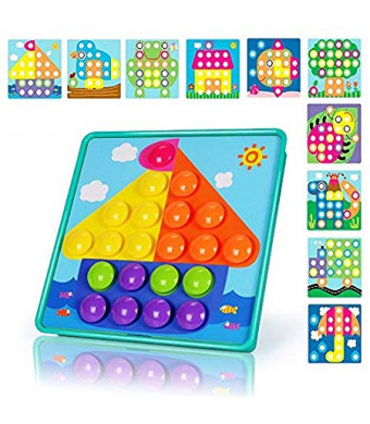 NextX Button Art Preschool Learning Toys Color Matching Puzzle Games Best Gift for Boy (Blue)