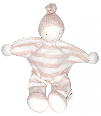 """Under the Nile Organic Cotton Baby Buddy Lovey Toy 8"""" (Pink Stripe)"""