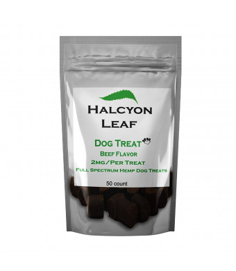 Halcyon Leaf - 50 Count Hemp Extract Dog Treat - 2mg of Hemp Extract per Treat - Non-GMO - All Natural Made in The USA from Organically Grown Hemp