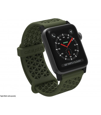 Catalyst Hypoallergenic Watch Band 42mm Silicone Sports Bands (24mm) Compatible Apple Watch Series 1, 2 and 3 and The 44mm Series 4 Quick Release Spring bar,Breathable iWatch Wristbands, Army Green