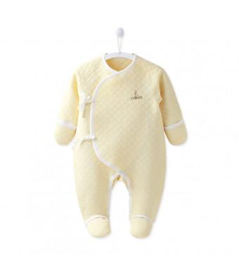 COBROO Unisex Newborn Infant Baby Warm Long-Sleeve Footie Bodysuit Onesies 100% Cotton
