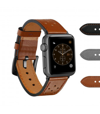 Rockvee Compatible Apple Watch Band, Vintage Genuine Leather iWatch Replacement Bands Apple Watch Series 4 (40mm/44mm) Series 3 Series 2 Series 1 (38mm/42mm)