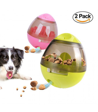 2 Pack Dog/Cat Pet Treat Ball Interactive Toys Tumbler Design,Food Dispensing Tumbler Toy:Increases IQ and Mental Stimulation Pink and Green