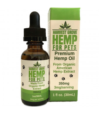 Harvest Grove Hemp Hemp Oil For Pets By Cats And Dogs - Unflavored - Made From Organic Hemp - Pure Hemp Extract - For Pain - Stress - Healthy Hips And Joints - Anxiety - (1oz/350mg)