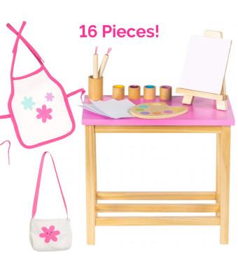 Adora Amazing World Artist Studio Wooden Play Set  16 Piece Accessory Set for 18 Dolls [Amazon Exclusive]