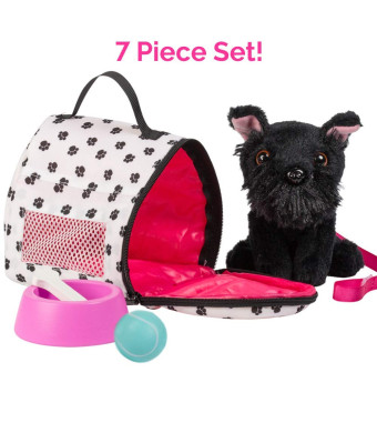 """Adora Amazing Pets Sadie the Black Schnauzer  18 Doll Accessory includes 4.5"""" Dog, Dog Carrier, Collar, Leash, Ball, Wooden Bowl and Bone (Amazon Exclusive)"""