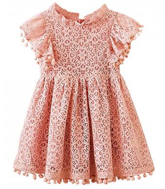 2Bunnies Girl Baby Girl Vintage Lace Pom Pom Trim Birthday Party Dress