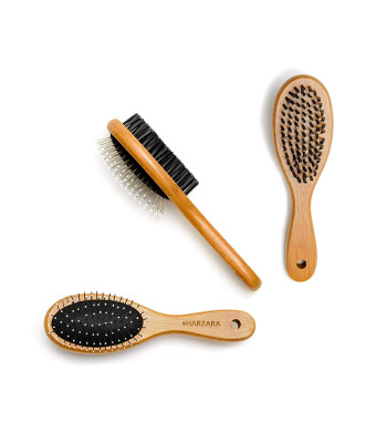 Harzara Eco-Friendly Pet Brush for Cats and Dogs. Professional, Double Sided Pin and Bristle for Short, Medium Or Long Hair. Bamboo Grooming Comb Cleans Pet Shedding and Dirt Plus Smoothes Coat.