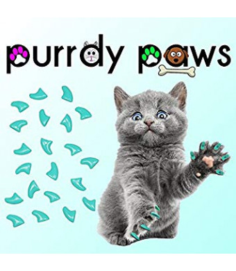 40-Pack Soft Nail Caps For Cat Claws TURQUOISE Purrdy Paws