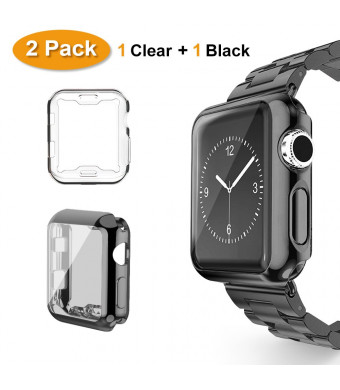 Belyoung For Apple Watch Case 38mm 2 PACK, for iWatch Screen Protector TPU All-around Full Front Protective Case for Apple Watch Series 3, Series 2, Series 1