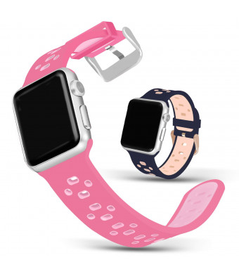 Jobese Compatible Apple Watch Bands 42mm/44mm 38mm/40mm, Soft Silicone Breathable Sport Bands Compatible Apple Watch Series 4, Series 3, Series 1/2, Sports/ Edition Accessories Wristbands