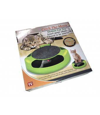 MEW Cat Catches Mice Interactive Toys with A Running Mice and A Scratching Pad Catch The Mouse Cat Scratcher Catnip Toy Green