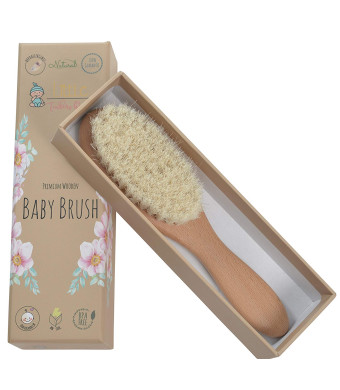 Little Tinkers World Natural Wooden Baby Hair Brush - Healthcare and Grooming for Newborns and Toddlers, Ideal for Baby Registry