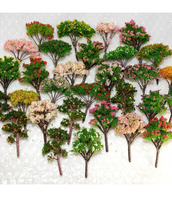 NW 25pcs Mixed Model Trees Model Train Scenery Architecture Trees Model Scenery with No Stands0.79-2.36inch (Colorful)