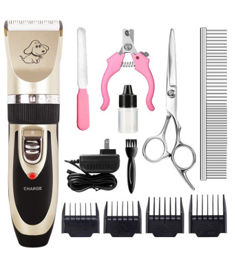 CAHTUOO Dog Grooming Clippers, Professional Pet Grooming Kit Rechargeable Pet Shaver Cordless Silent Dog Hair Trimmer with 4 Comb Attachments and 4 Extra Tools for Dogs Cats and Pets