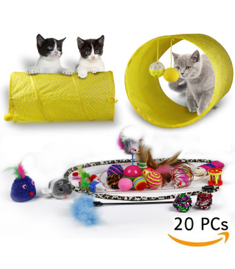RIO Direct Cat Toys Kitten Toys Variety Pack - Cat Tunnel, Interactive Feather Toy, Cat Feather Teaser Wand, Fluffy Mouse, Crinkle Balls and Bells - 20 Pack Gift Set for Cat, Puppy, Kitty